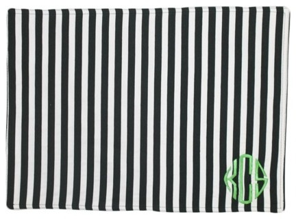 monogrammed black and white striped placemat modern placemats by luxury monograms. Black Bedroom Furniture Sets. Home Design Ideas