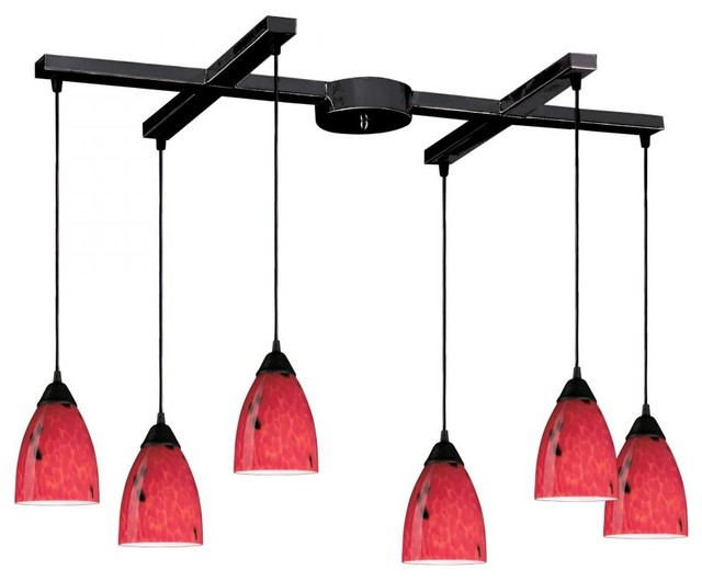 Six Light Dark Rust Fire Red Glass Multi Light Pendant tropical-kitchen-island-lighting