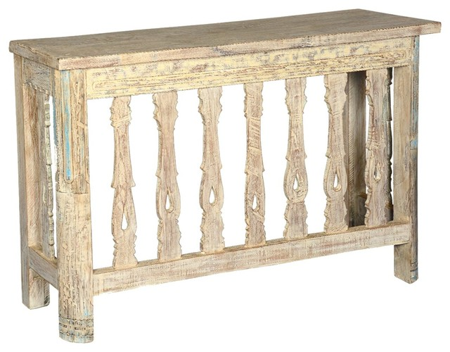 Rustic Wood Foyer Table : Palisade reclaimed wood hallway foyer console table