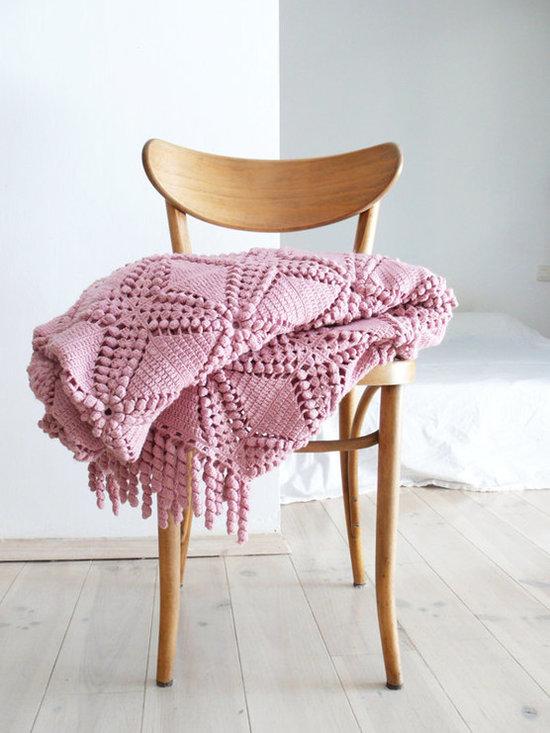 Vintage Crocheted Blanket, Pink by La Casa de Cotó -