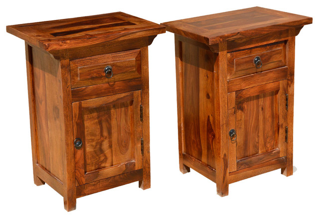 Rustic Farmhouse Indian Rosewood Nightstand End Table