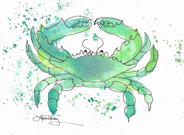 Crab Print in Seafoam Green tropical-artwork