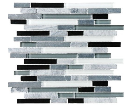 F11 Espresso Linear Glass Stone Blend Mosaics - • Length: 12""