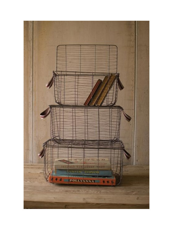 Wire Storage Baskets With Handles, Antique Blue-Gray Finish - This one is by far my favorite. It looks like vintage luggage. So charming and well designed!