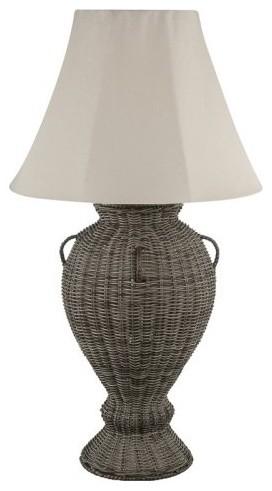 Royce RLT1000-50 Rattan Outdoor Table Lamp - Dark Tan contemporary-outdoor-lighting