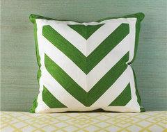 Chevron Linen Pillow, Kelly Green and White contemporary-pillows