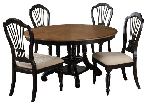Hillsdale wilshire 7 piece round dining room set w side for Traditional black dining room sets