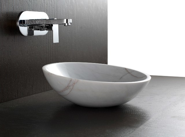 Apollo polished white stone basin sink modern bathroom basins brisbane by nova deko - Designer bathroom sinks basins ...