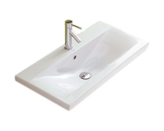 "Althea - Simple Rectangular White Ceramic Wall Mounted or Self Rimming Bathroom Sink - This simple wide rectangular white ceramic sink is made in Italy by Althea. Sink includes overflow and a single faucet hole. Can be installed as either a wall mounted or self rimming sink. Sink dimensions: 39.40"" (width), 7.10"" (height), 15.40"" (depth)"