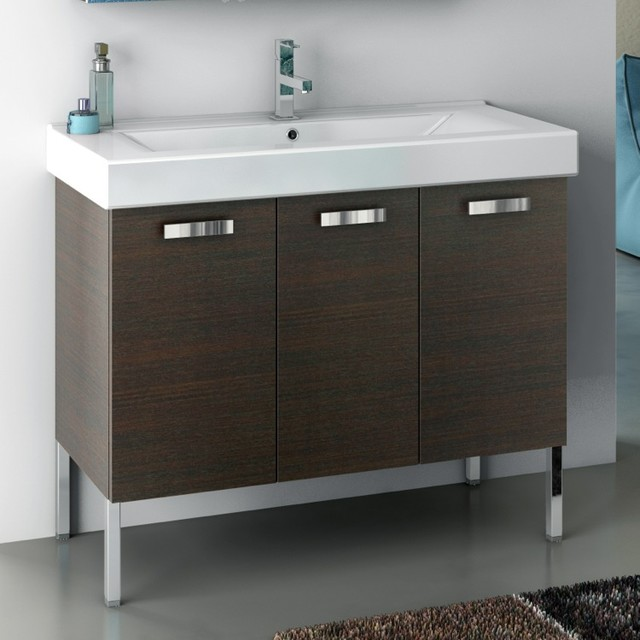 40 Inch Vanity Cabinet With Fitted Sink contemporary-bathroom-vanities-and-sink-consoles