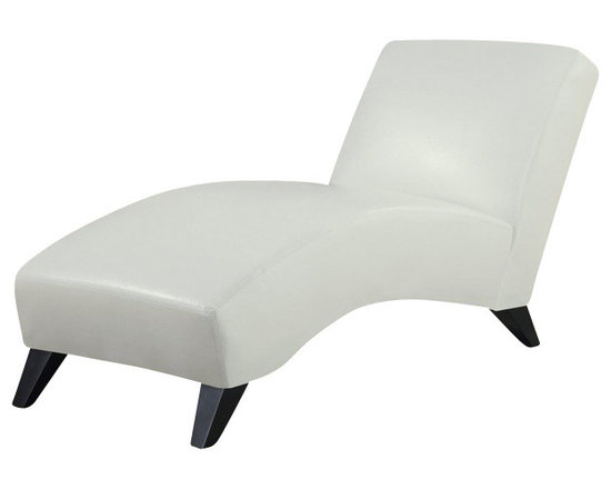 Global Furniture USA - R1999R White Polyurethane Lounge Chaise Chair - The R1999R chaise lounge is a contemporary update to the classic lounger with a modern look for any decor. This chaise comes fully wrapped in a beautiful white polyurethane material. High density foam is placed within for added comfort. Curved for comfort and style, this chaise lounge has an armless design with tapered wooden legs. The price shown includes the chaise chair only.