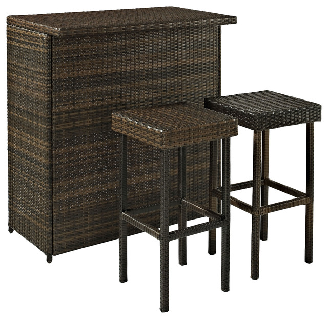 Palm Harbor 3-Piece Outdoor Wicker Bar Set - Table and Two Stools traditional-outdoor-pub-and-bistro-sets