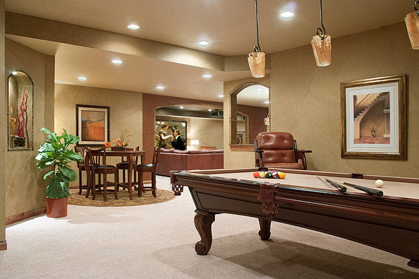 Media game room transitional basement milwaukee by for All room decoration games