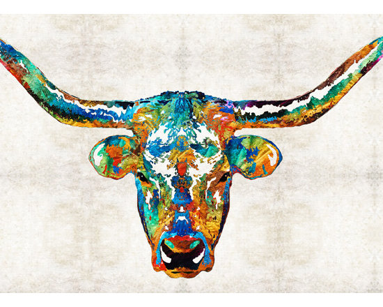 Animals, Fish and Birds - Colorful Longhorn Art By Sharon Cummings
