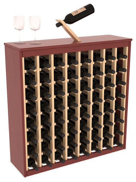 Two Tone 64 Bottle Deluxe Wine Rack in Pine, Cherry Stain and Natural + Satin contemporary-wine-racks