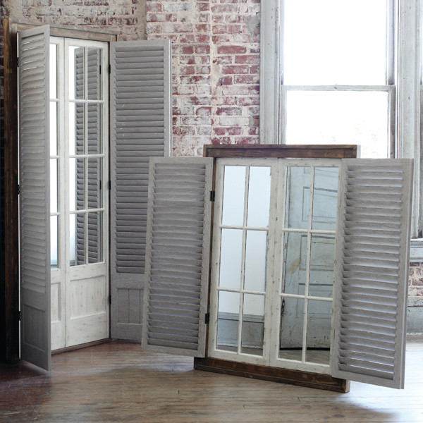 Grand entry mirror with shutters traditional atlanta for Mirror that look