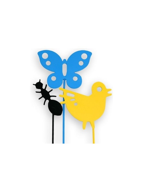 notNeutral Bloomin' Large Fauna Garden Stakes - Garden Stakes for all seasons in shapes that are modern, colorful and fun. Bright candy-colored Bugs and Animals make these durable steel Bloomin' Garden Stakes by notNeutral eye catching in your garden.