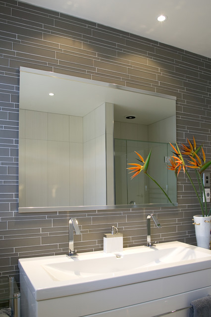 Island Stone Smoke Linear Glass Bathroom modern-wall-and-floor-tile