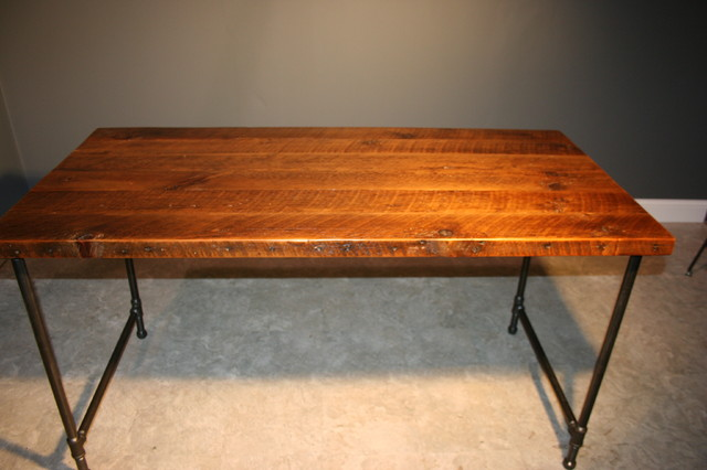 Reclaimed Wooden Computer Table/Desk w/Gas-pipe Leg Base traditional-