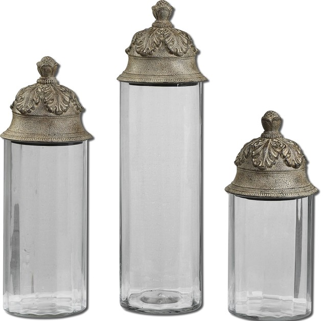 old world glass canisters set of 3 transitional glass kitchen canister kitchen canisters and jars by
