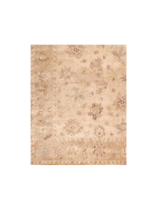 Horchow - Journey Oushak Rug, 8' x 10' - An antique weave, neutral ground, and highlights of raw umber, soft blue, and chocolate add up to one irresistible, handmade Oushak rug. Durable and intended for foot traffic. Hand knotted of wool on a cotton foundation. Hand trimmed. Washed for an a...