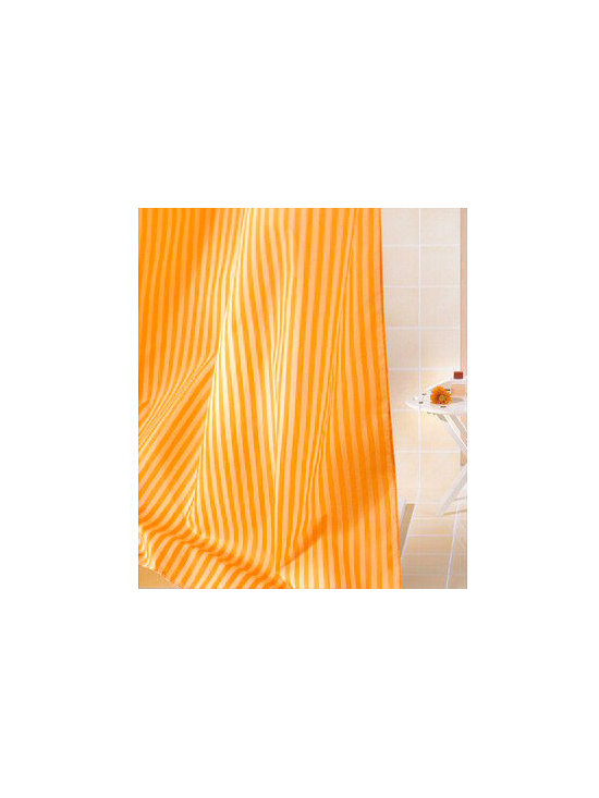 Sanna Luxury Fabric Shower Curtain from Vita Futura - Our Sanna shower curtain is a beautiful, striped, fabric shower curtain. Available in shower stall, tub and extra-wide widths. This shower curtain is offered in your choice of beige, white or blue. Much like the shower curtains you find in many luxury hotels and spas, this shower curtain does not require the use of a shower curtain liner.  Made of quick-dry and easy-care  fabric. As with all of our products, our Sanna shower curtain is designed and produced in Germany.