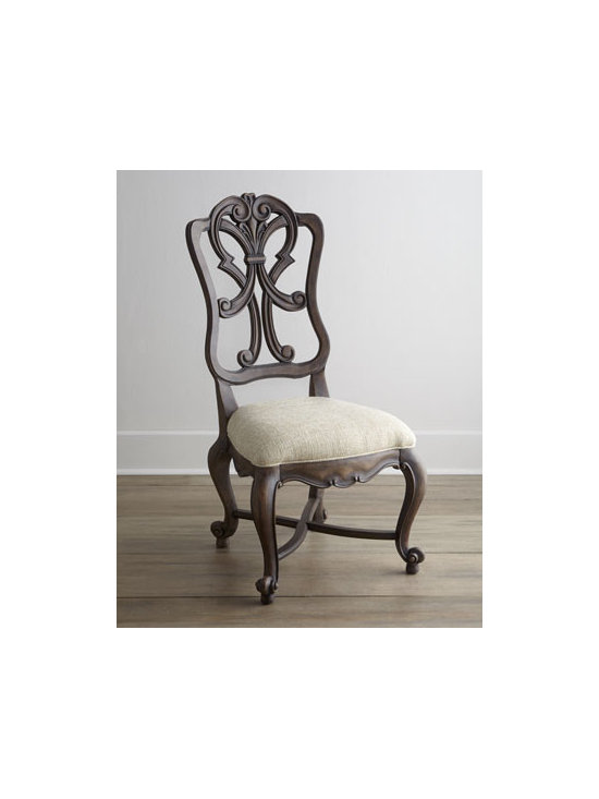 """Horchow - Two Donabella Wood-Back Side Chairs - This chair features a stunning frame with intricately carved back, providing a beautiful silhouette from any angle. Carvings detailing the outlines of the legs add a dramatic dimension to this seating option. Mixed hardwood frame. Polyester upholstery. Sold in pairs; each, 23.5""""W x 28""""D x 46""""T."""