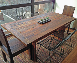Reclaimed Old Growth Teak Dining Table, 3' x 6' - Contemporary - Dining Tables - boise - by ...