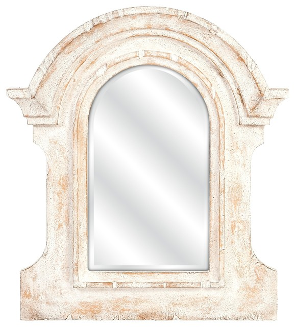Old World Architectural Distressed White Wall Mirror mediterranean-tabletop