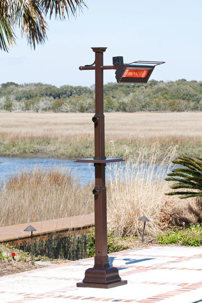 Fire Sense Hammer Tone Bronze Mission Design Pole Mounted Infrared Patio Heater contemporary-firepits