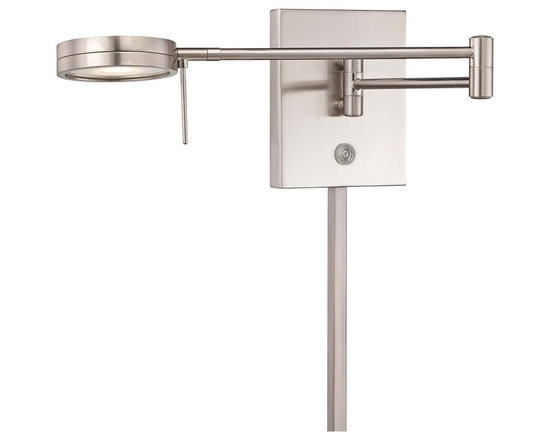 "George Kovacs - George Kovacs Round Head LED Nickel Swing Arm Wall Lamp - From the George Kovacs lighting collection comes this sleek LED swing arm wall lamp with a low-profile round head. The design is smart and contemporary with energy efficient LED lighting and three easy options for controlling the light output. It comes in a brushed nickel finish and adjusts easily at the joint on the arm making it a great option for task or reading lighting. Plug-in style design is easy to install; simply mount on the wall plug the cord into any standard wall outlet and turn on! With an average lifespan of 30000 hours this LED lamp is designed to last. Round head LED swing arm. Brushed nickel finish steel shade. Plug-in style; matching cord cover included. Includes 8 watt LED. 84 CRI. Light output 320 lumens. Color temperature 3000K. Push button dimmer. Touch memory switch. Lit on/off button. Includes 6 feet cord. 13 3/4"" wide. 6 1/4"" high. Extends 5"" to 23 1/2"" maximum from the wall.  Round head LED swing arm.  Brushed nickel finish steel shade.  A George Kovacs lighting design.  Plug-in style; matching cord cover included.  Includes 8 watt LED.  84 CRI.  Light output 320 lumens.  Comparable to a 35 watt incandescent bulb.  Color temperature 3000K.  Bulb life averages 30000 hours at 3 hours per day.  Push button dimmer.  Touch memory switch.  Lit on/off button.  Includes 6 feet cord.  13 3/4"" wide.  6 1/4"" high.  Extends 5"" to 23 1/2"" maximum from the wall."