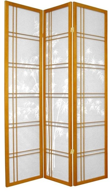 6 ft. Tall Double Cross Bamboo Tree Shoji Screen - Honey - 3 Panels traditional-screens-and-room-dividers