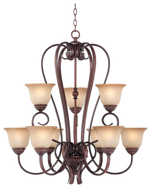 """Traditional Bronze with Scavo Glass 33 1/4"""" Wide 2-Tier Chandelier traditional-chandeliers"""