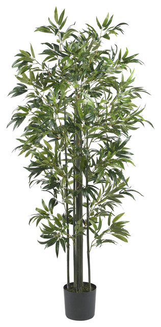 Nearly Natural 6' Bamboo Silk Tree (Green Trunks) traditional-artificial-flowers