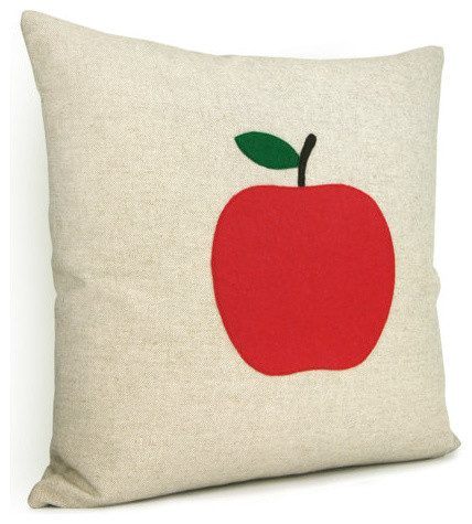 Natural Beige Pillow Cover with Felt Apple Applique by Classic by Nature - Modern - Decorative ...