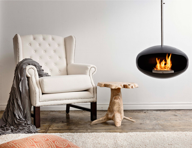 Cocoon Fires Aeris Black Fireplace modern-indoor-fireplaces