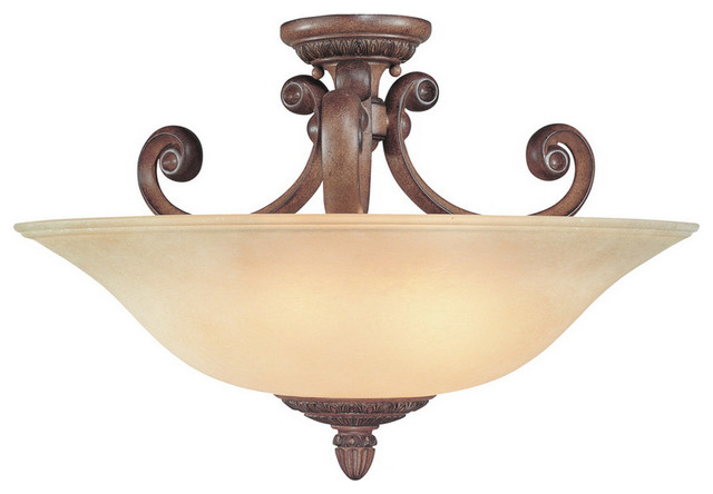 Dolan Designs 2407-54 Carlyle 3 Light Semi-Flush Mounts in Canyon Clay transitional-ceiling-lighting