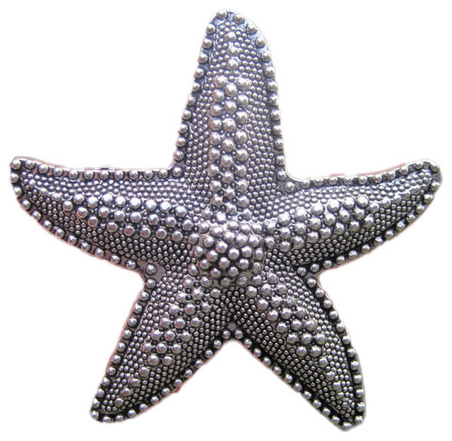 Beach House Starfish Drawer Knobs, Silver - Beach Style - Cabinet And Drawer Knobs - by DaRosa ...