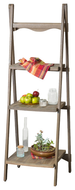 Meriden Wood Ladder Display Shelf farmhouse-bookcases