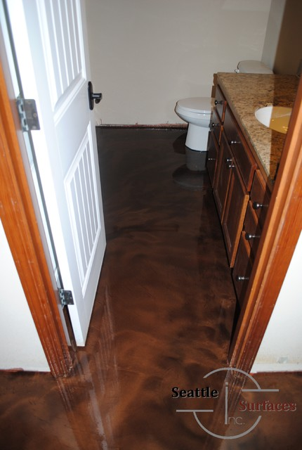 designer epoxy basement floor after failed diy modern seattle by