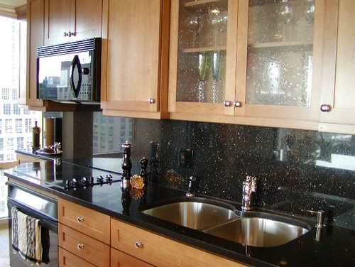 full matching granite backsplash or tile