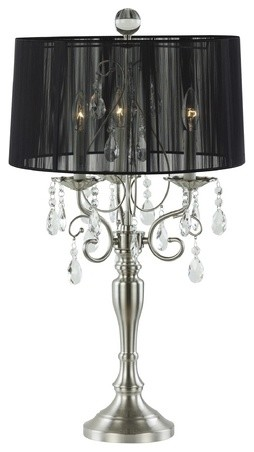 crystal chandelier table lamp with drum shade table lamps by. Black Bedroom Furniture Sets. Home Design Ideas