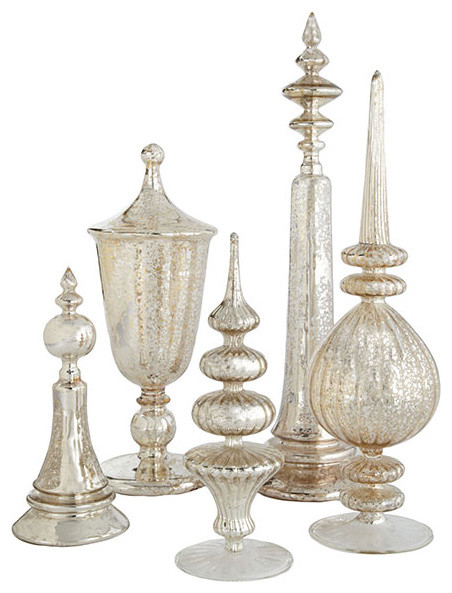 Antiqued Glass Finials Set Modern Home Decor By Wisteria