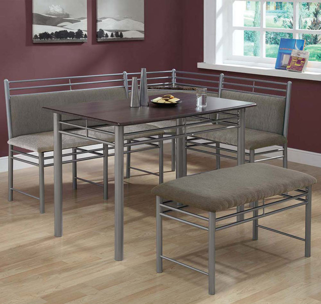 silver metal corner 3pcs dining set contemporary dining tables