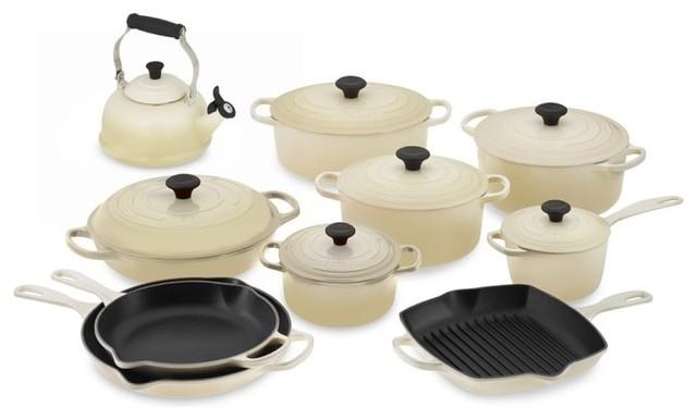 le creuset signature 15 piece cookware set with teakettle