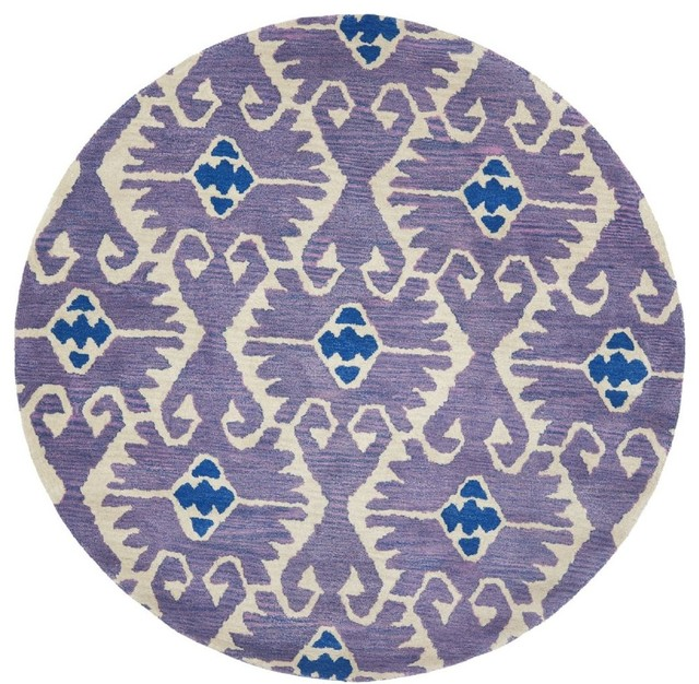 Contemporary wyndham round 7 39 round lavander ivory area for Round area rugs contemporary