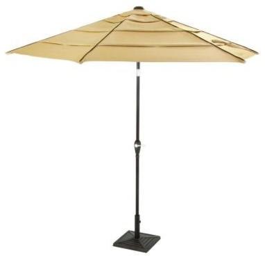 Hampton Bay Patio Umbrella Madison 9 Ft Tilting Patio Umbrella In Brown Contemporary Patio