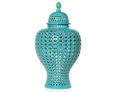 Aquamarine Filigree Urn asian vases