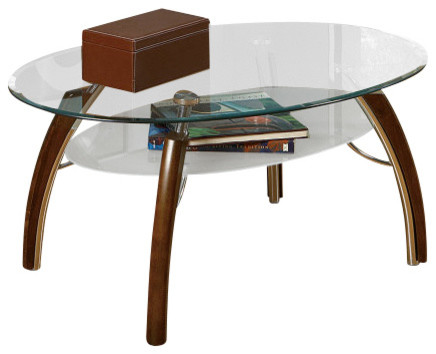 Steve Silver Atlantis 3 Piece Occasional Table Set in Cherry contemporary-coffee-tables