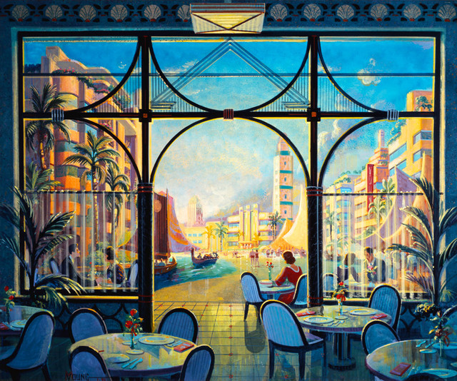 Art Deco Wallpaper Mural Of Dinner At Deco Beach Wall Art Contemporary Wallpaper